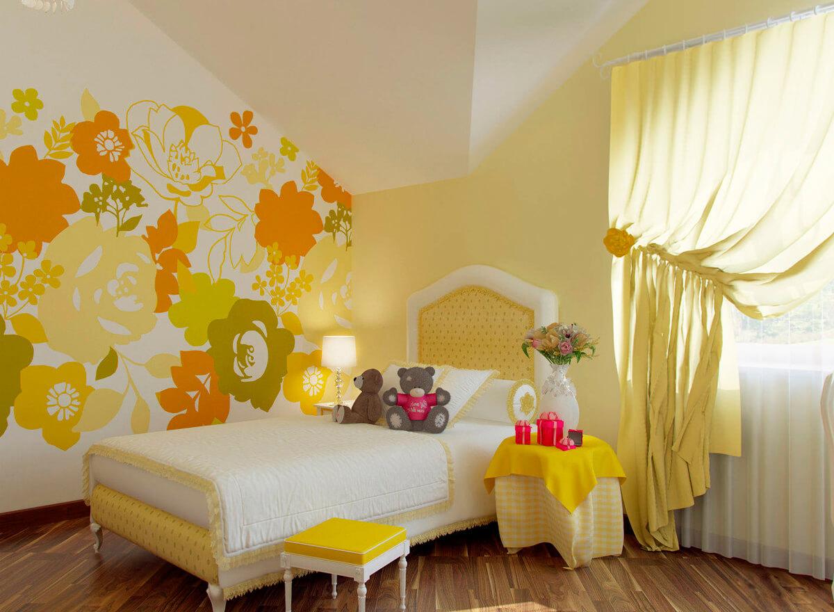 желтые обои для комнаты фото 53155