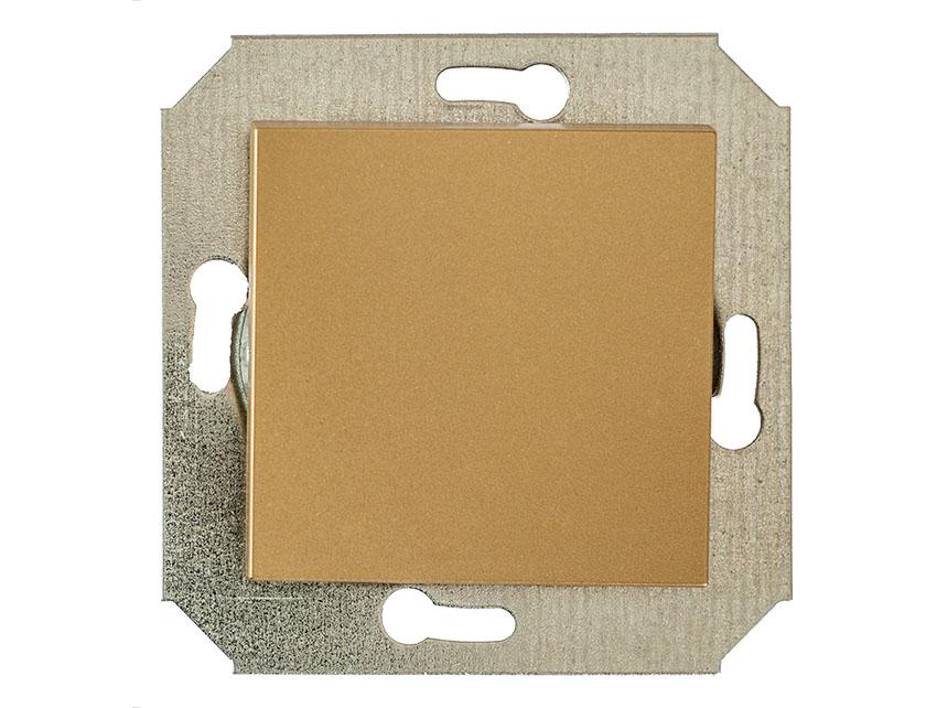 Купить Выключатель одноклавишный проходной без рамки Gusi City С5В41.ВК1-005 золото