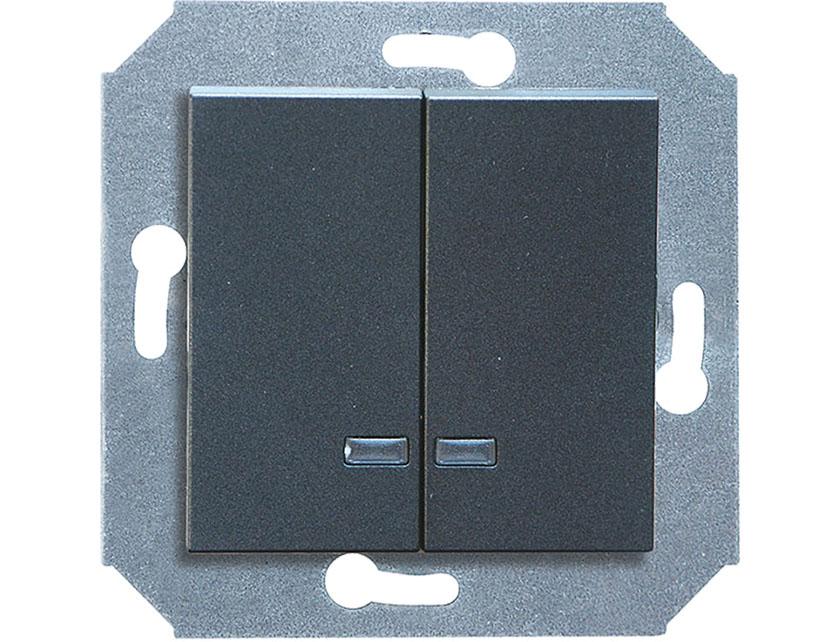 Купить Выключатель двухклавишный с подсветкой без рамки Gusi Extra С1В28-010 графит
