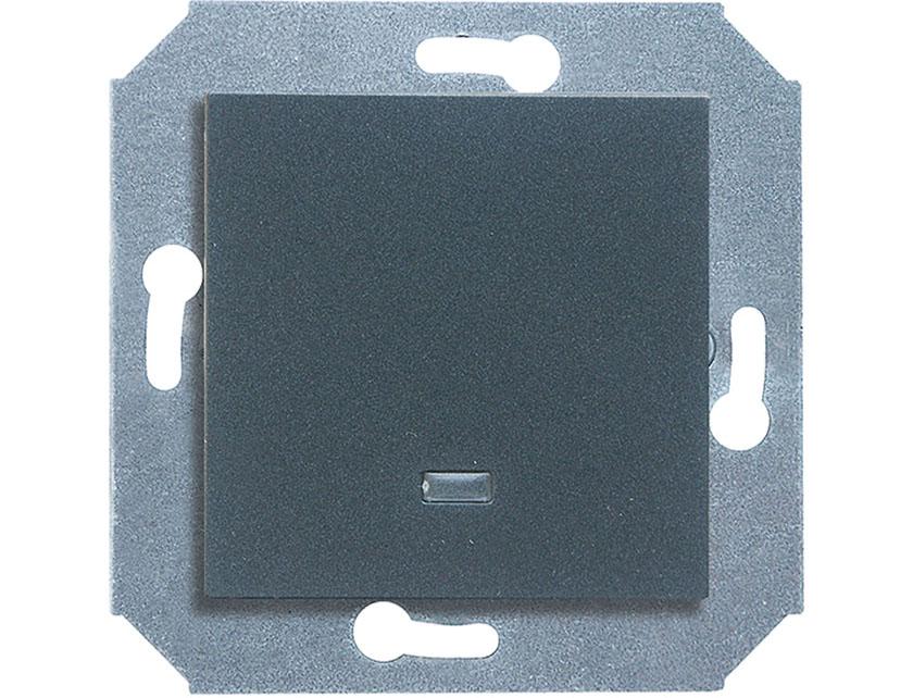 Купить Выключатель одноклавишный с подсветкой без рамки Gusi City С5В11.ВК10.ВА1-8-010 графит