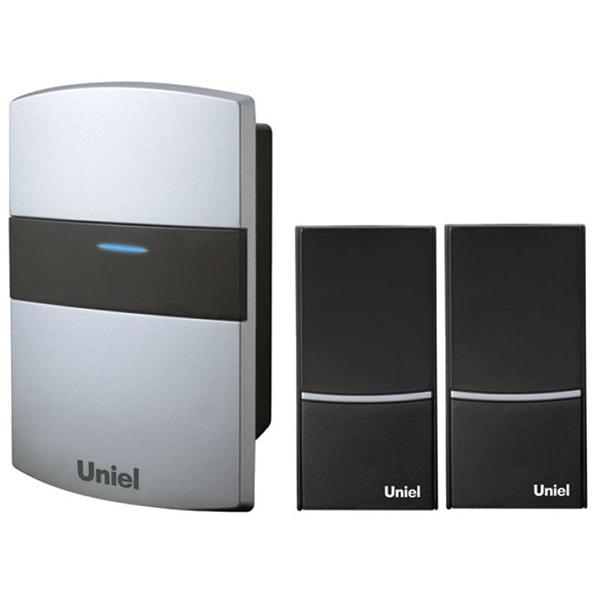 Купить Звонок беспроводной серебристый (1 звонок + 2 кнопки) UDB-004W-R1T2-32S-100M-SL Uniel