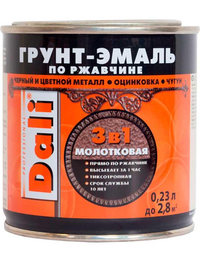 Купить Грунт-эмаль по ржавчине Dali Молотковая 3 в 1, 0, 23 л чёрный