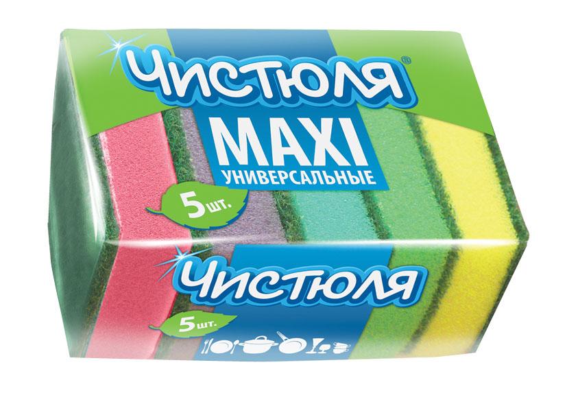 Купить Губки для посуды ЧИСТЮЛЯ MAXI П0302, 5 шт, ООО БОМАРТ