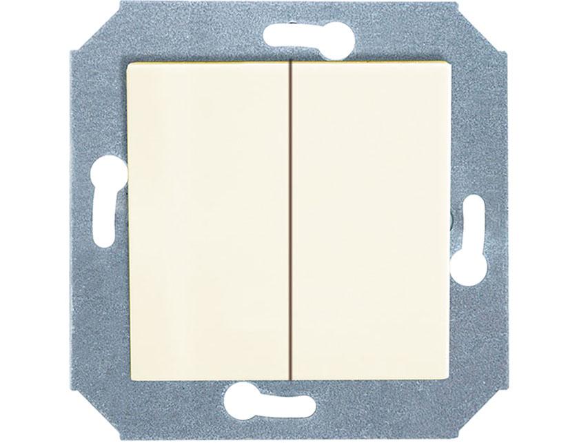 Купить Выключатель двухклавишный без рамки Gusi City С5В21.ВК2-003 бежевый