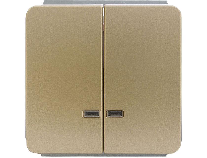 Купить Выключатель двухклавишный с подсветкой без рамки Gusi Extra С1В28-005 золото