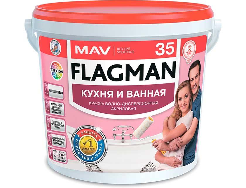 Купить Краска FLAGMAN 35 кухня и ванная (ВД-АК-2035) база TR п/гл 3л (3, 1 кг)