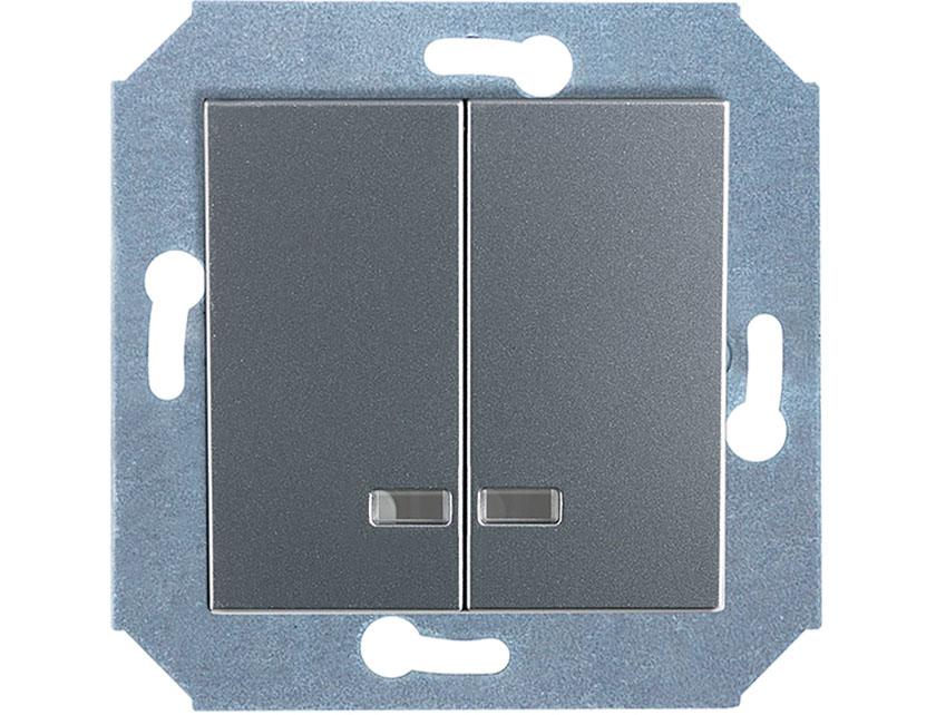 Купить Выключатель двухклавишный с подсветкой без рамки Gusi City С5В21.ВК20.ВА2-8-004 серебро