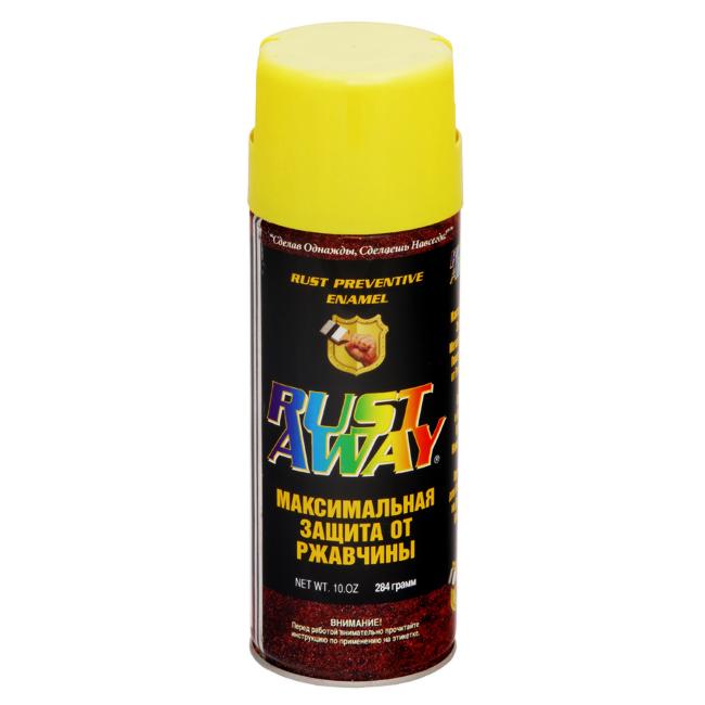 Купить Краска аэрозольная по ржавчине RUST AWAY желтая 30012, 284 гр