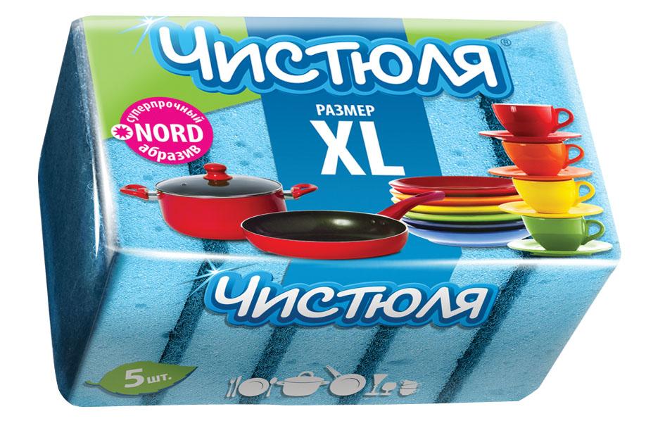 Купить Губки для посуды Чистюля XL с абразивом 5 шт артикул П0311