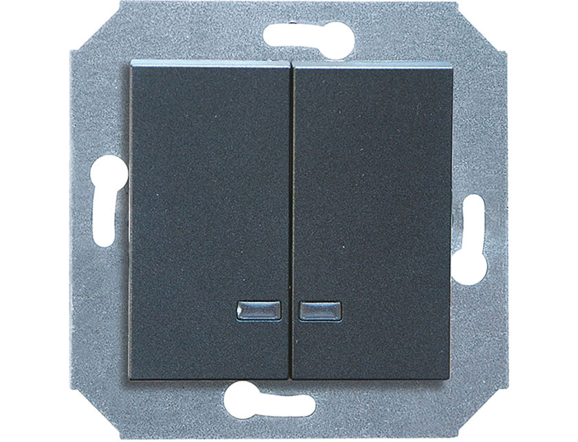 Купить Выключатель двухклавишный с подсветкой без рамки Gusi City С5В21.ВК20.ВА2-8-010 графит