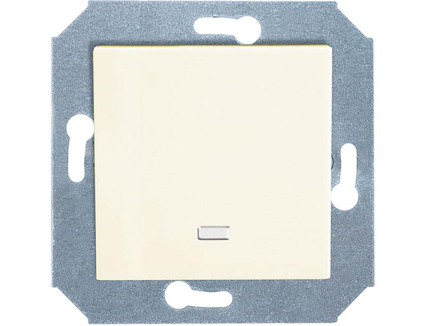 Купить Выключатель одноклавишный с подсветкой без рамки Gusi City С5В11.ВК10.ВА1-8-003 бежевый