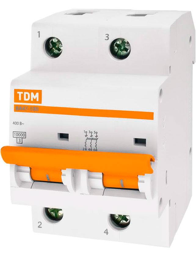 Купить Выключатель автоматический TDM ELECTRIC SQ0207-0077, ВА 47-100 3Р, 100А, 10кА, С