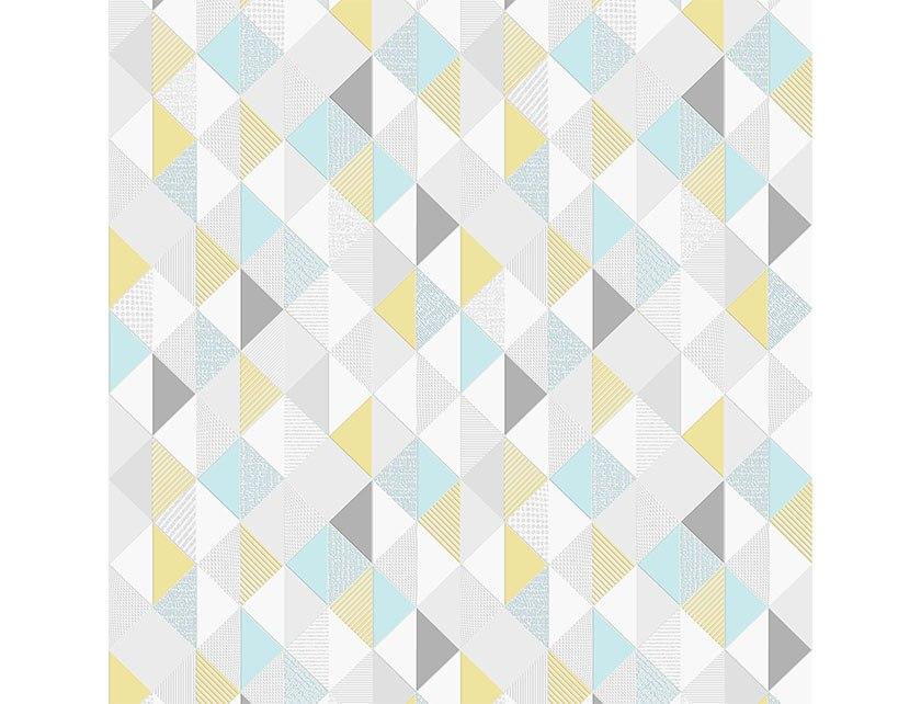 Купить Обои Trend Art 469026 серо-желто-голубые ромбы винил на флизелиновой основе 0, 53х10 м
