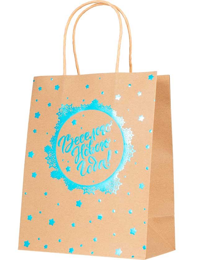 Купить Подарочный пакет Веселого Нового Года, 17, 8х22, 9х9, 8 см, крафт-бумага