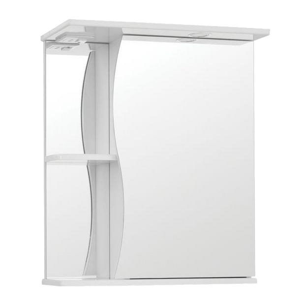 Купить Зеркало-шкаф Волна 500с, белое, 730х510х260, дерево, стекло