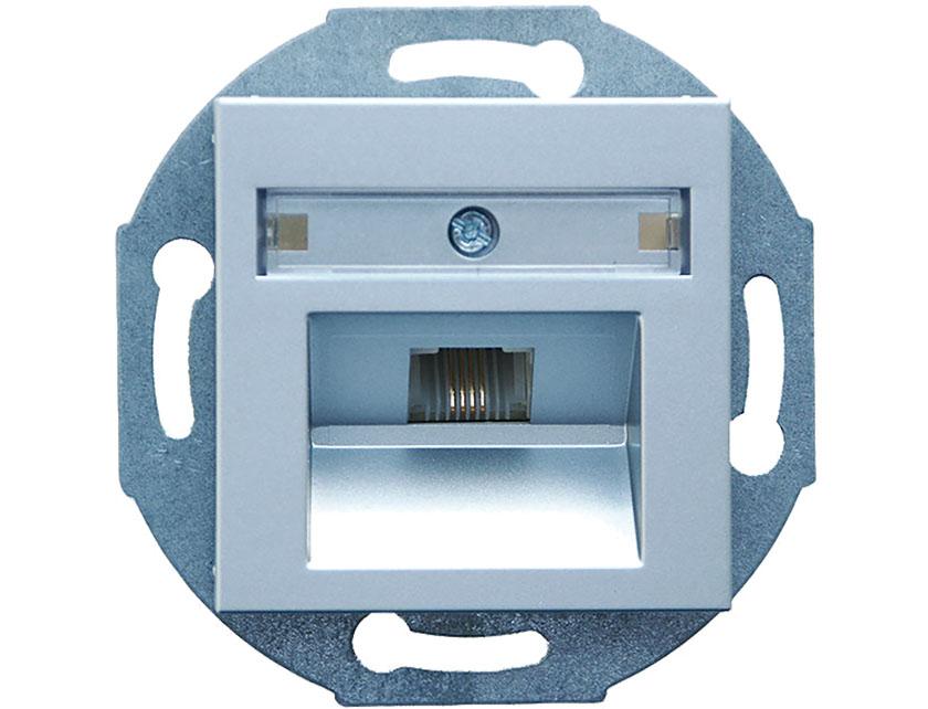 Купить Розетка телефонная 1хRJ12 без рамки Gusi City С5НТ1.130-004 серебро
