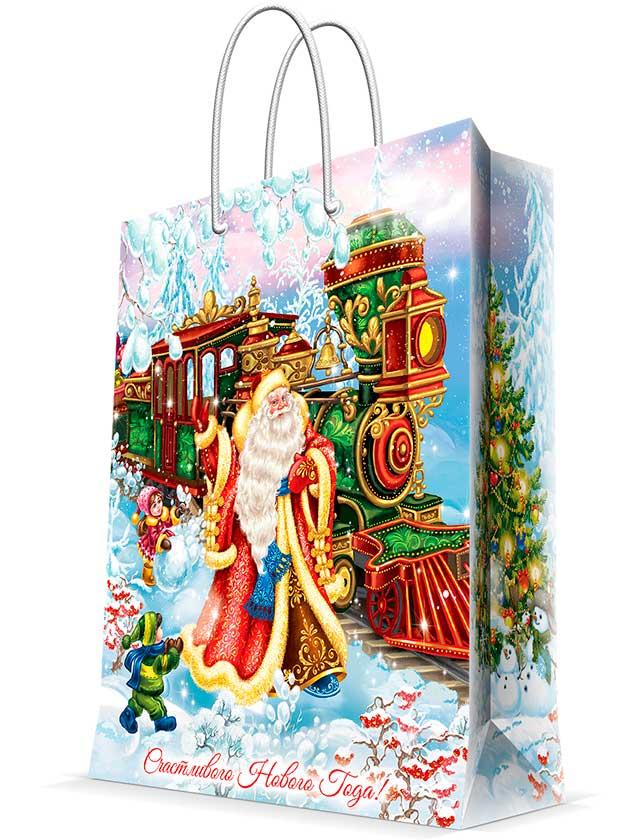 Купить Подарочный пакет Новогодний, 17, 8х22, 9х9, 8 см, бумага