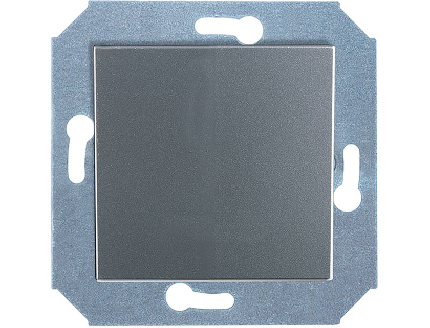 Купить Выключатель одноклавишный проходной без рамки Gusi City С5В41.ВК1-004 серебро