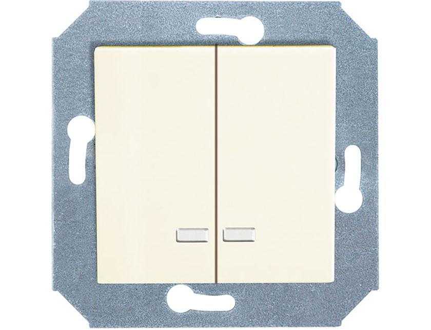 Купить Выключатель двухклавишный с подсветкой без рамки Gusi City С5В21.ВК20.ВА2-8-003 бежевый