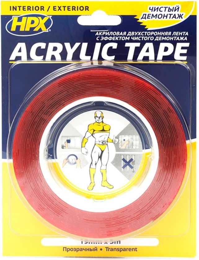 Лента клейкая двухсторонняя ACRYLIC TAPE прозрачная 12мм*5м  - купить со скидкой