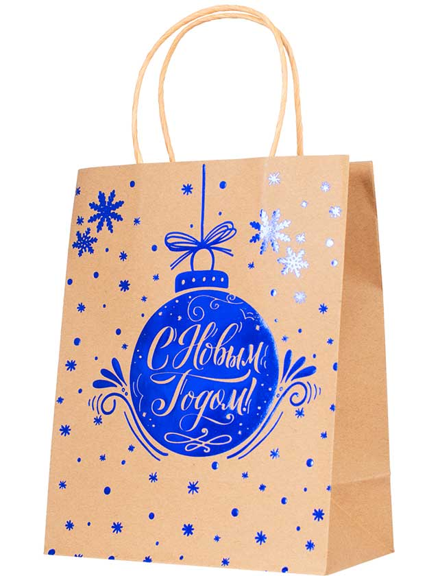 Подарочный пакет С Новым Годом, 17, 8х22, 9х9, 8 см, крфат-бумага  - купить со скидкой