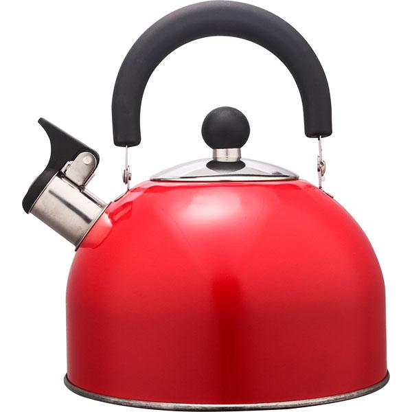 Купить Чайник со свистком и с крышкой 2, 5 л, нержавеющая сталь, капсулированное дно, красный, HITT Rondo Plus, арт.H01023/1