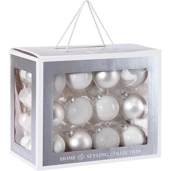 Купить Набор елочных шаров ABR400840 белый, стекло, 60 шт