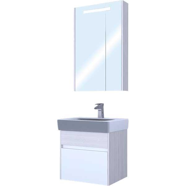 Купить со скидкой Шкаф зеркальный АКВАТОН Верди 60 1A206902VDAV0, 600х810х145 мм с подсветкой, белый/ясень фабрик