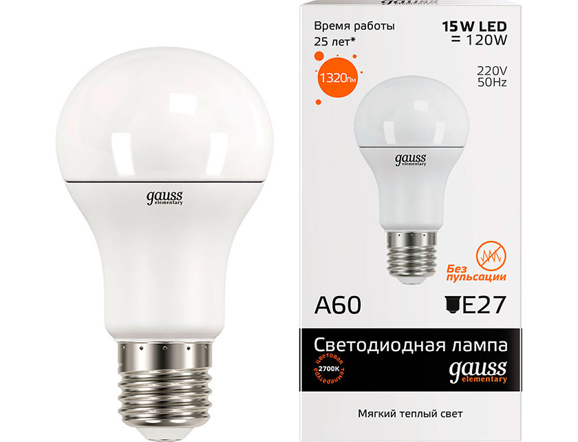 Купить Лампа светодиодная Elementary Gauss A60 15Вт Е27 2700K теплый свет