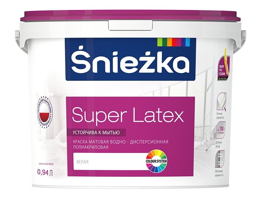 Краска для внутренних работ Sniezka Super Latex 9, 4 л  - купить со скидкой
