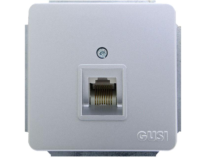 Купить Розетка компьютерная 1хRJ45 Cat5 без рамки Gusi Extra С5КТ-004 серебро