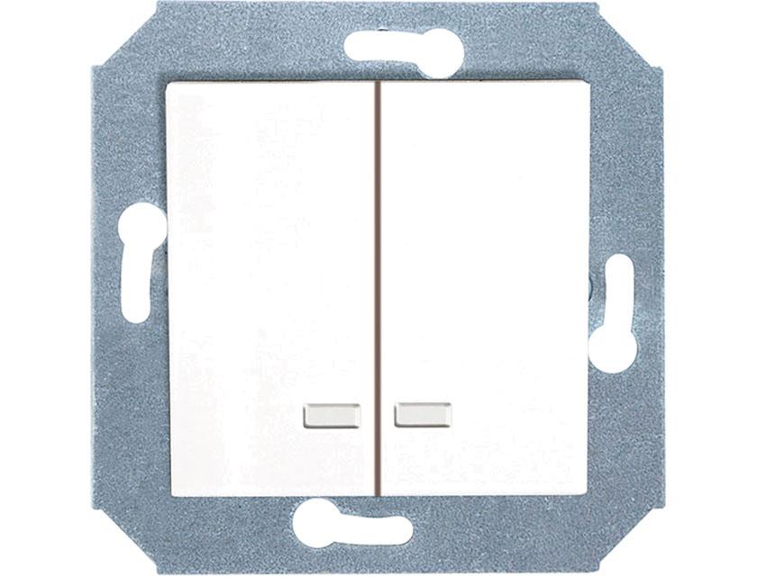 Выключатель двухклавишный с подсветкой без рамки Gusi City С5В21.ВК20.ВА2-8-001 белый  - купить со скидкой
