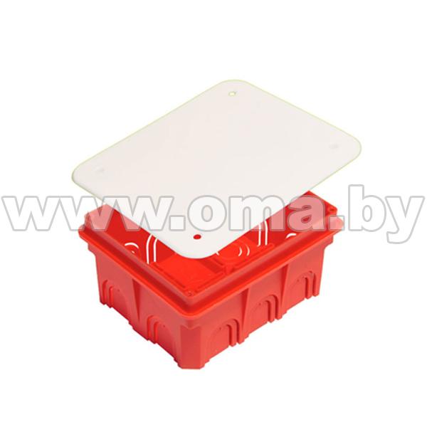 Купить Коробка монтажная, разветвительная для сплошных стен прямоугольная с крышкой КР1102-И (г/р 120х100х60)мм HEGEL