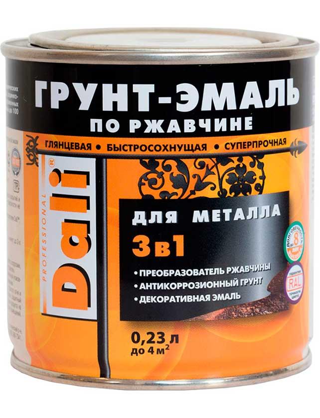 Купить Грунт-эмаль по ржавчине Dali 3 в 1, 0, 23 л серебристый алюминий RAL 9006