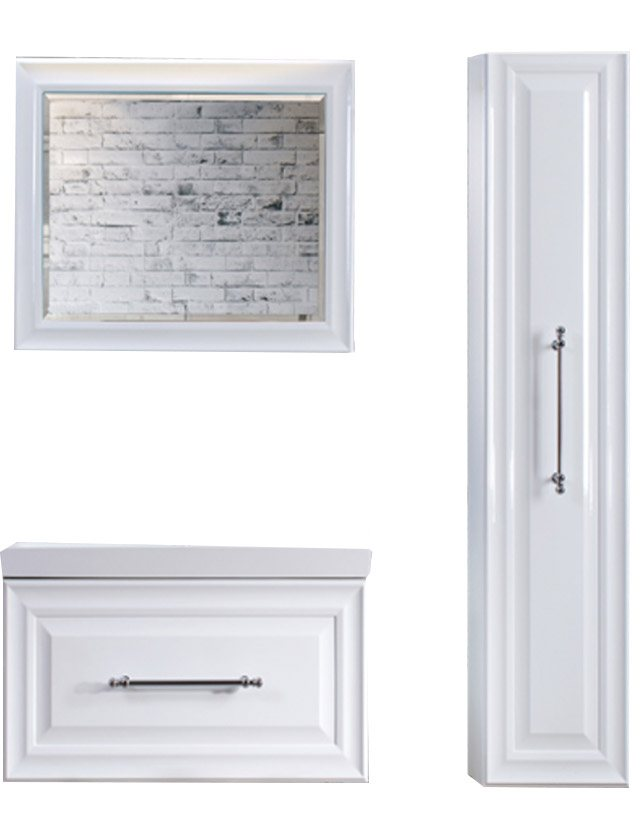 Зеркало Женева В 80 белое (1) (22х800х600)  - купить со скидкой