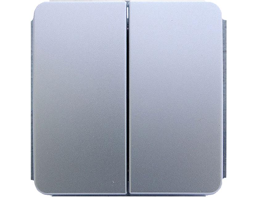 Купить Выключатель двухклавишный без рамки Gusi Extra С1В2-004 серебро