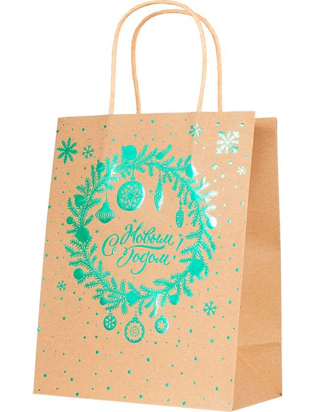 Купить Подарочный пакет С Новым Годом, 17, 8х22, 9х9, 8 см, крафт-бумага