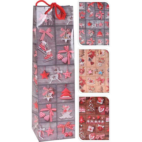 Купить Подарочный пакет Бутылочный, 10х10х35 см, бумага