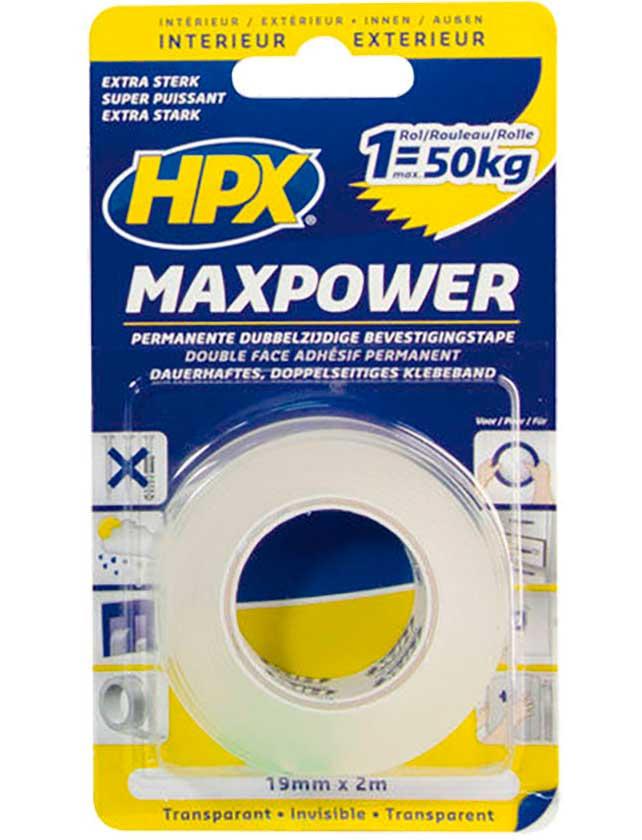 Купить Лента двухсторонняя MAXPOWER 19 мм х 2 м, прозрачная