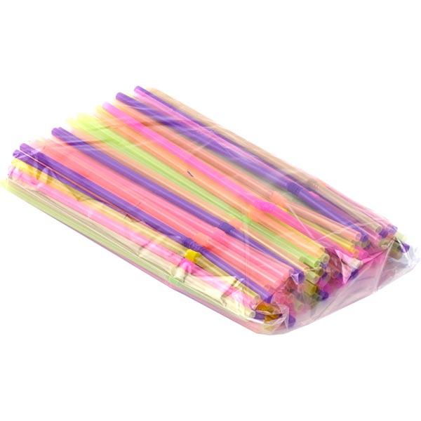 Купить Трубочки коктейльные цветные MIX, 5 х 210 мм, 100 шт