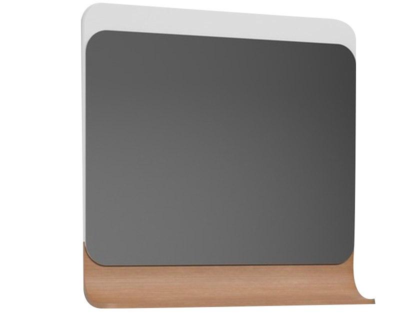 Зеркало Итака В 85 белое с ЛДСП молочный дуб (61) (165х800х765)  - купить со скидкой