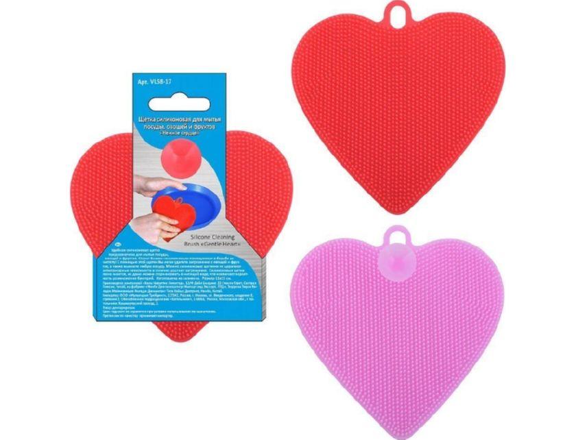 Купить Щетка силиконовая д/мытья Нежное сердце, арт.VL58-17