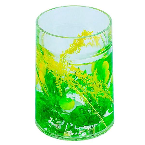Купить Стакан для зубных щеток Аквалиния Зеленый пластик, 8х8х10, 5 см