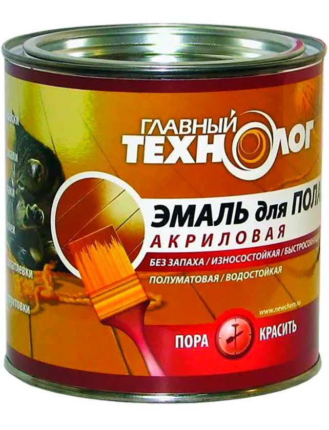 Купить Эмаль для пола акриловая ГЛАВНЫЙ ТЕХНОЛОГ коричневая 0, 8 кг