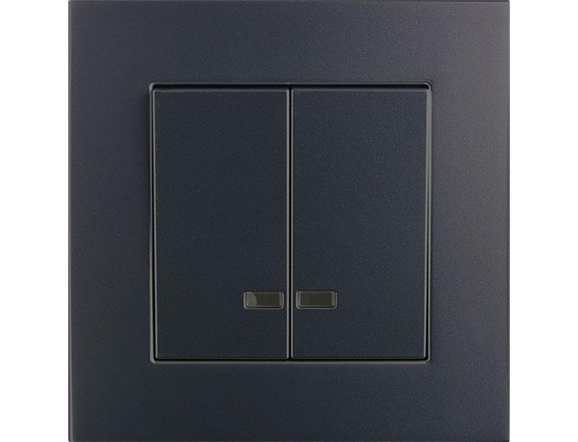 Купить Выключатель двухклавишный без рамки Gusi Extra С1В2-010 графит