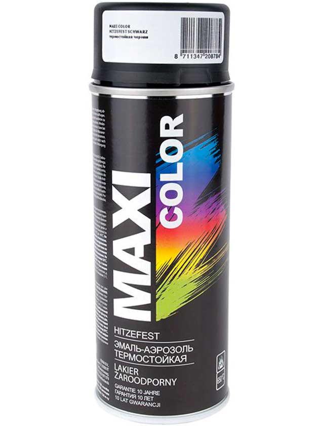Купить Эмаль аэрозольная автомобильная термостойкая черная, 400мл MAXI COLOR