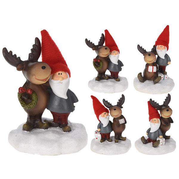 Купить Сувенир новогодний Олень и Санта AAA744210 в ассортименте, полистоун
