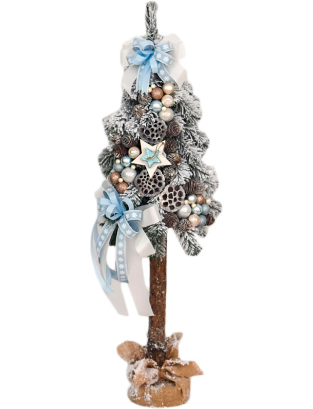 Купить Ель на пне украшенная, 160cm, SNOW BLUE, арт. CHTD-SG-EX-4- BLUE