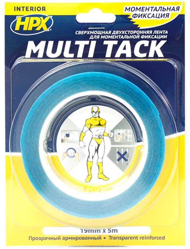 Купить Лента клейкая двухсторонняя MULTI TACK прозрачная 19мм*5м