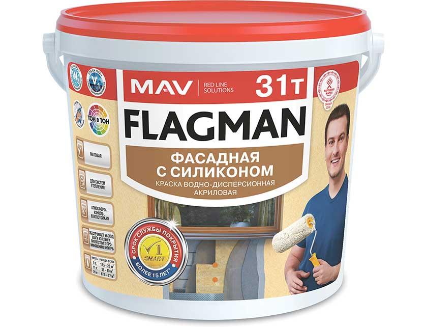 Купить Краска FLAGMAN 31т фасадная для систем утепления (ВД-АК-1031т) база TR 5л (6, 5 кг)